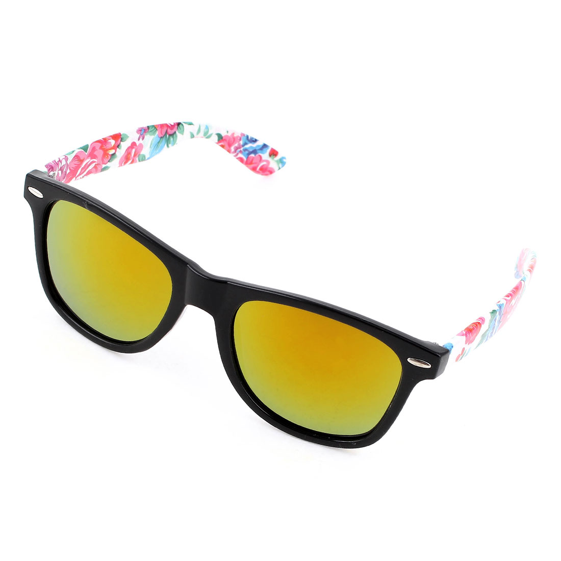 Women Flowers Pattern Multicolor Arms Full Frame Yellow Lens Sunglasses