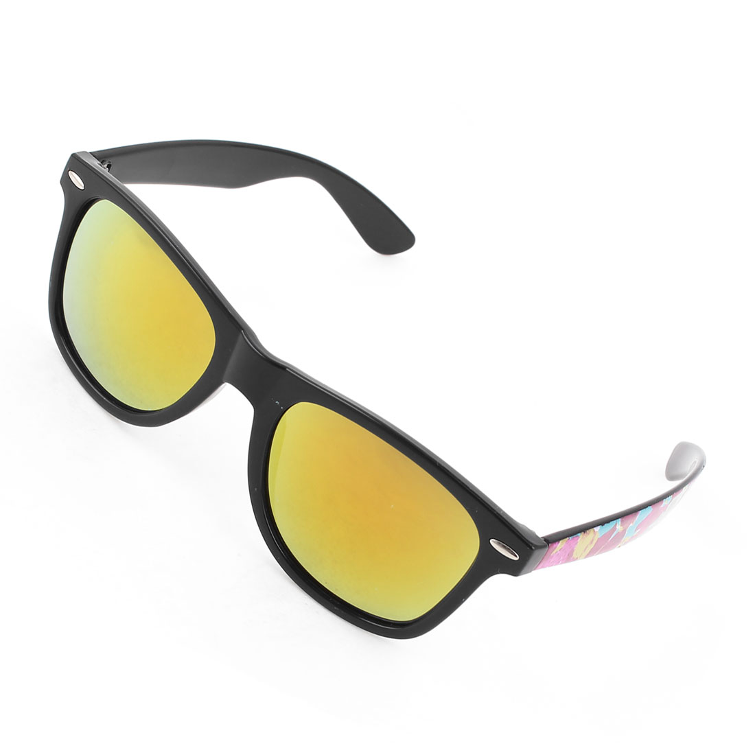 Strawberry Pattern Full Rim Single Bridge Yellow Lens Sunglasses for Lady