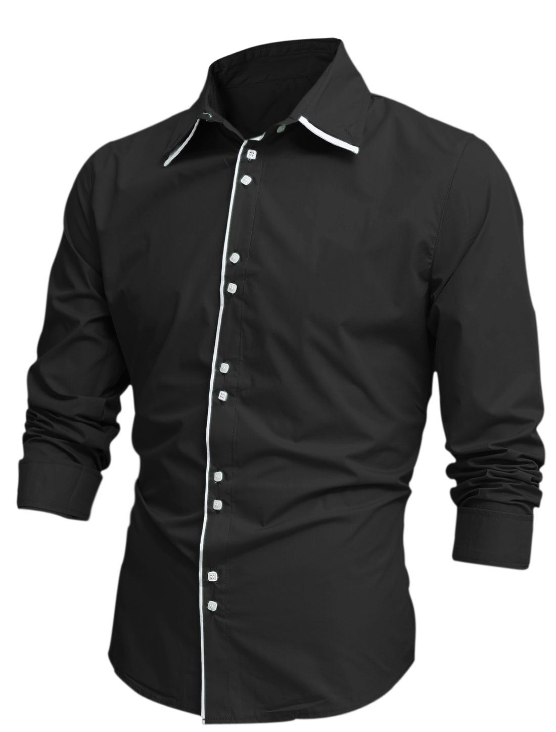 Men Layered Point Collar Long Sleeve Single Breasted Shirt Black M