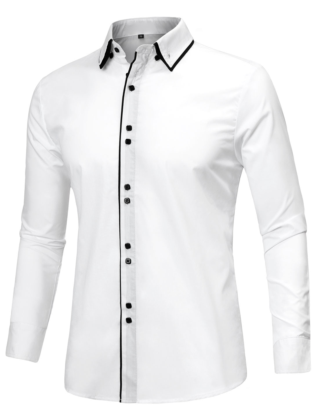 Men Tiered Point Collar Long Sleeve Button Down Shirt White M