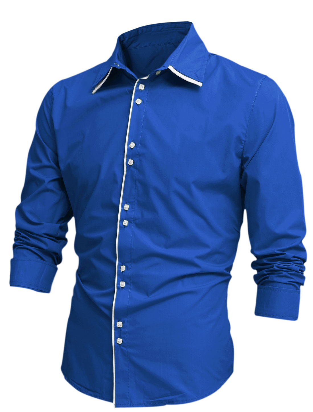 Men Tiered Point Collar Long Sleeve Button Front Shirt Royal Blue M