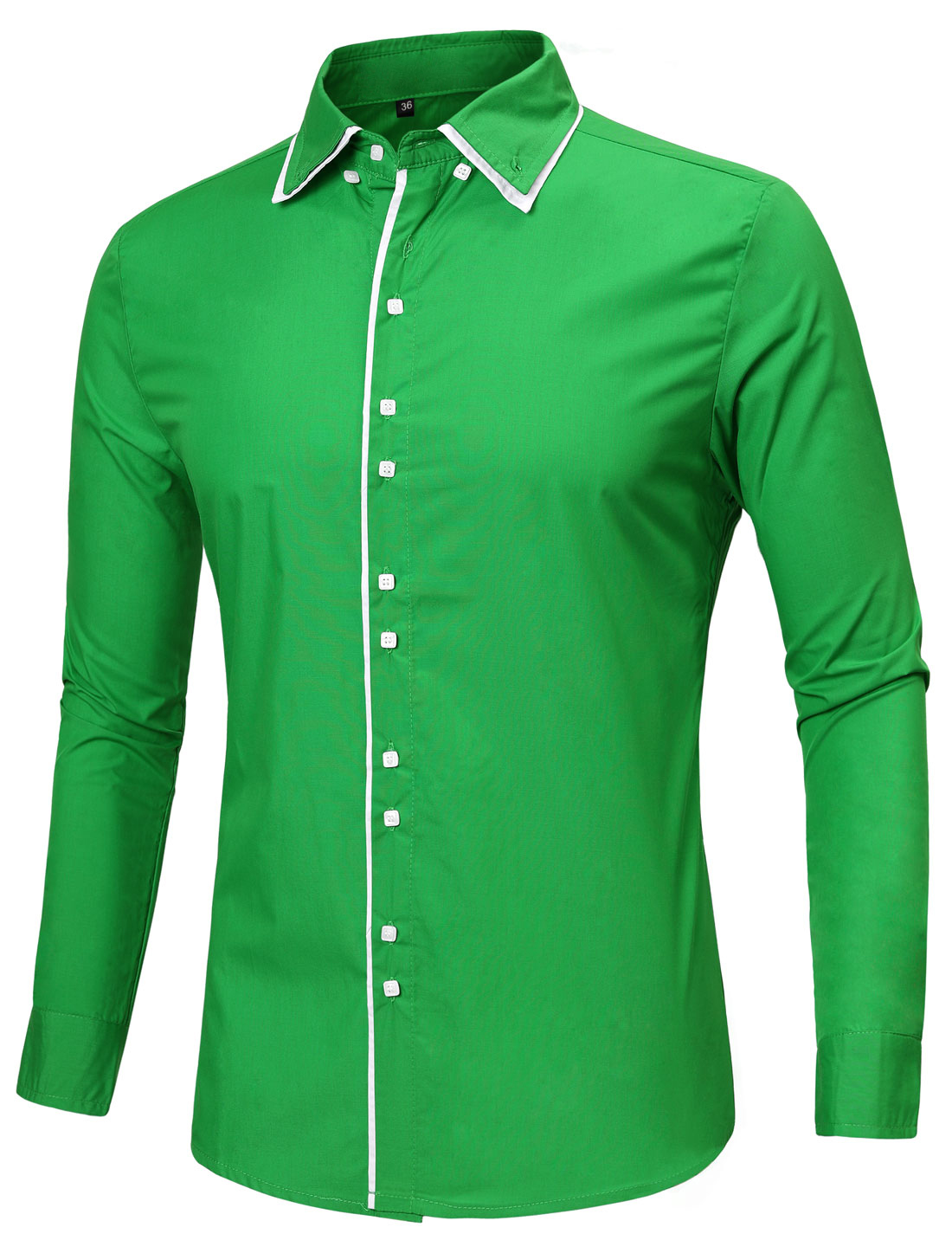 Men Contrast Trim Slim Fit Long Sleeve Button Down Formal Dress Shirt Bright Green M