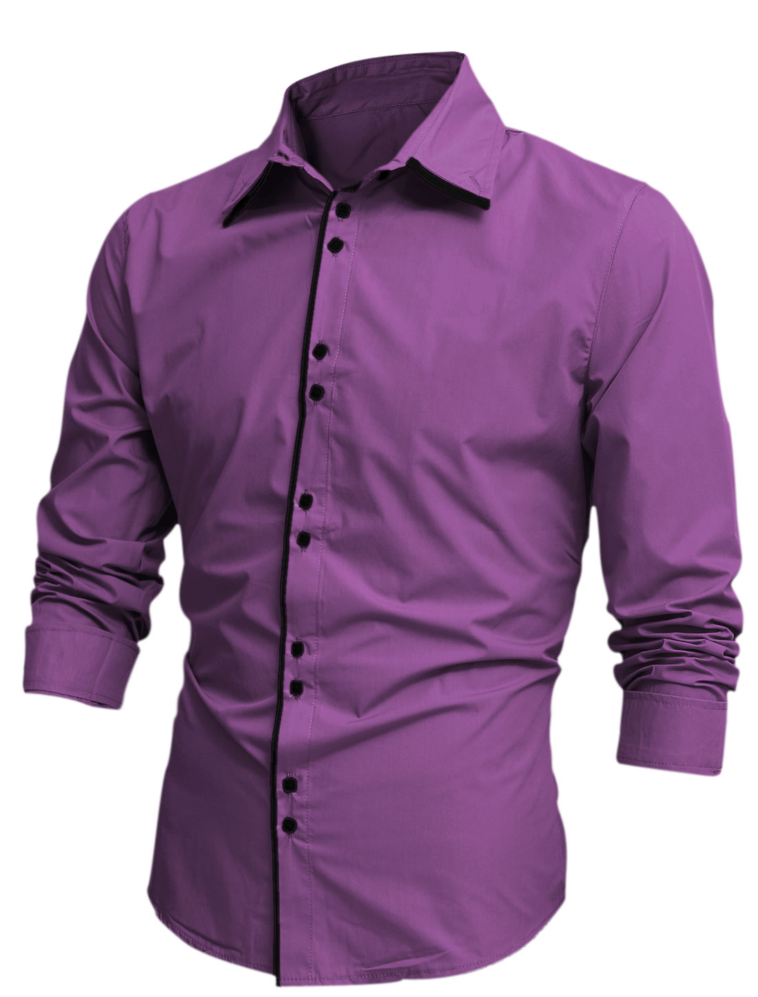 Men Tiered Point Collar Long Sleeve Button Closure Shirt Purple M