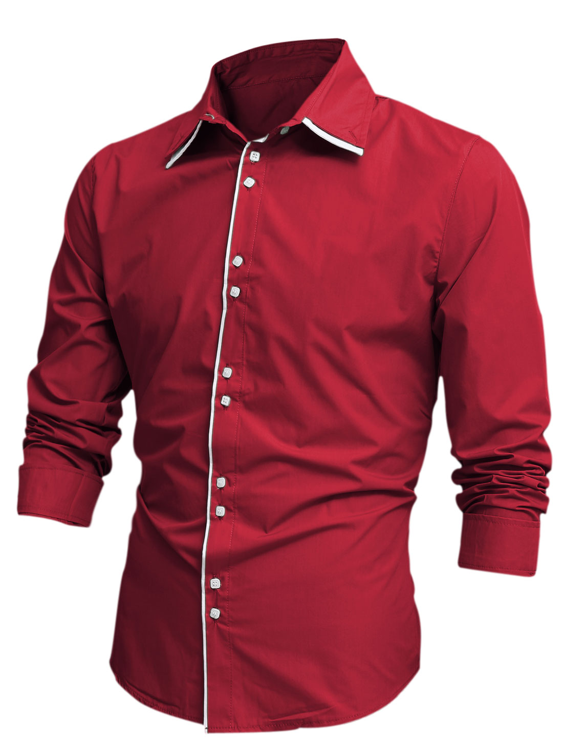 Men Tiered Point Collar Long Sleeve Button Up Shirt Red M