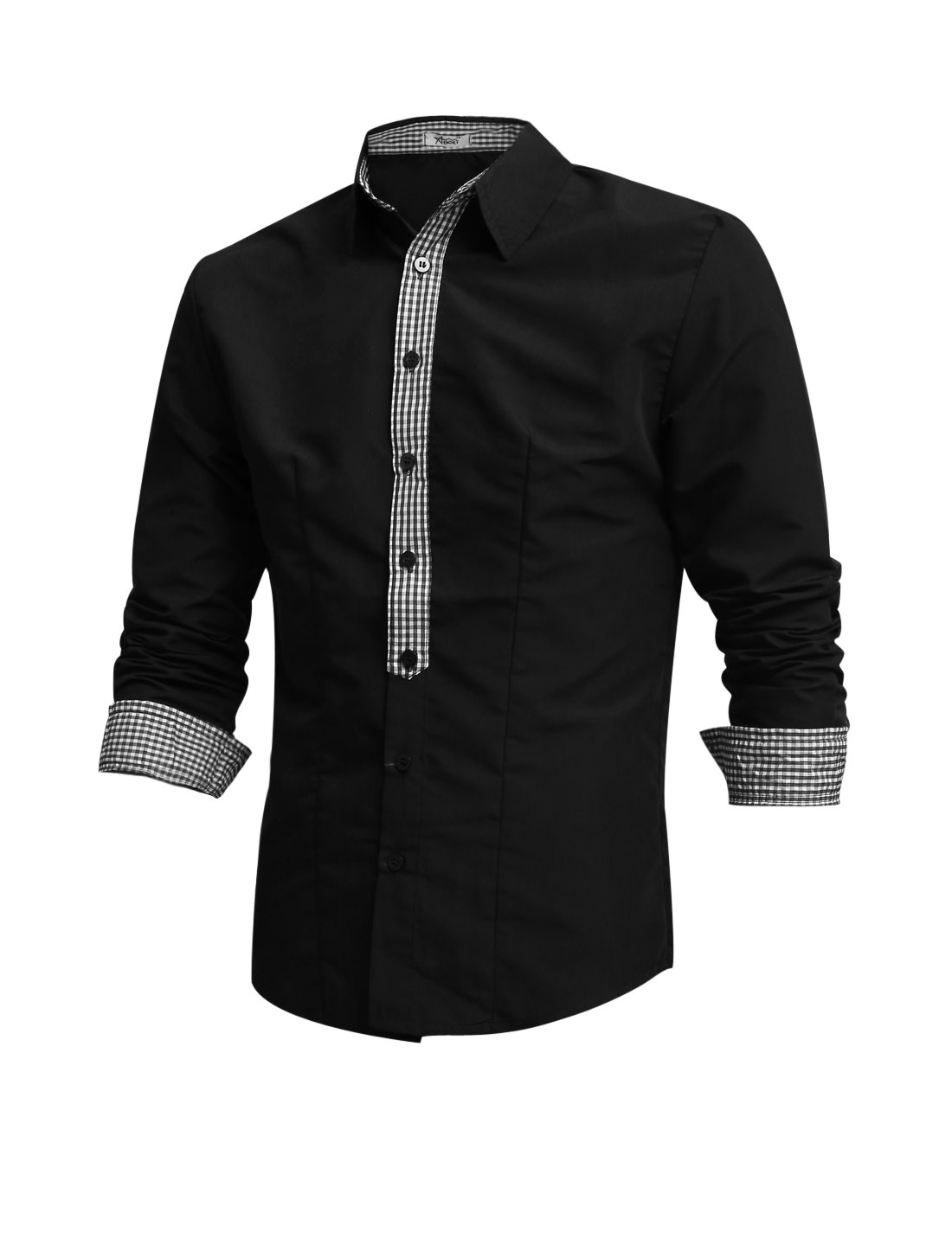 Men Point Collar Single Breasted Plaids Detail Casual Shirt Black M