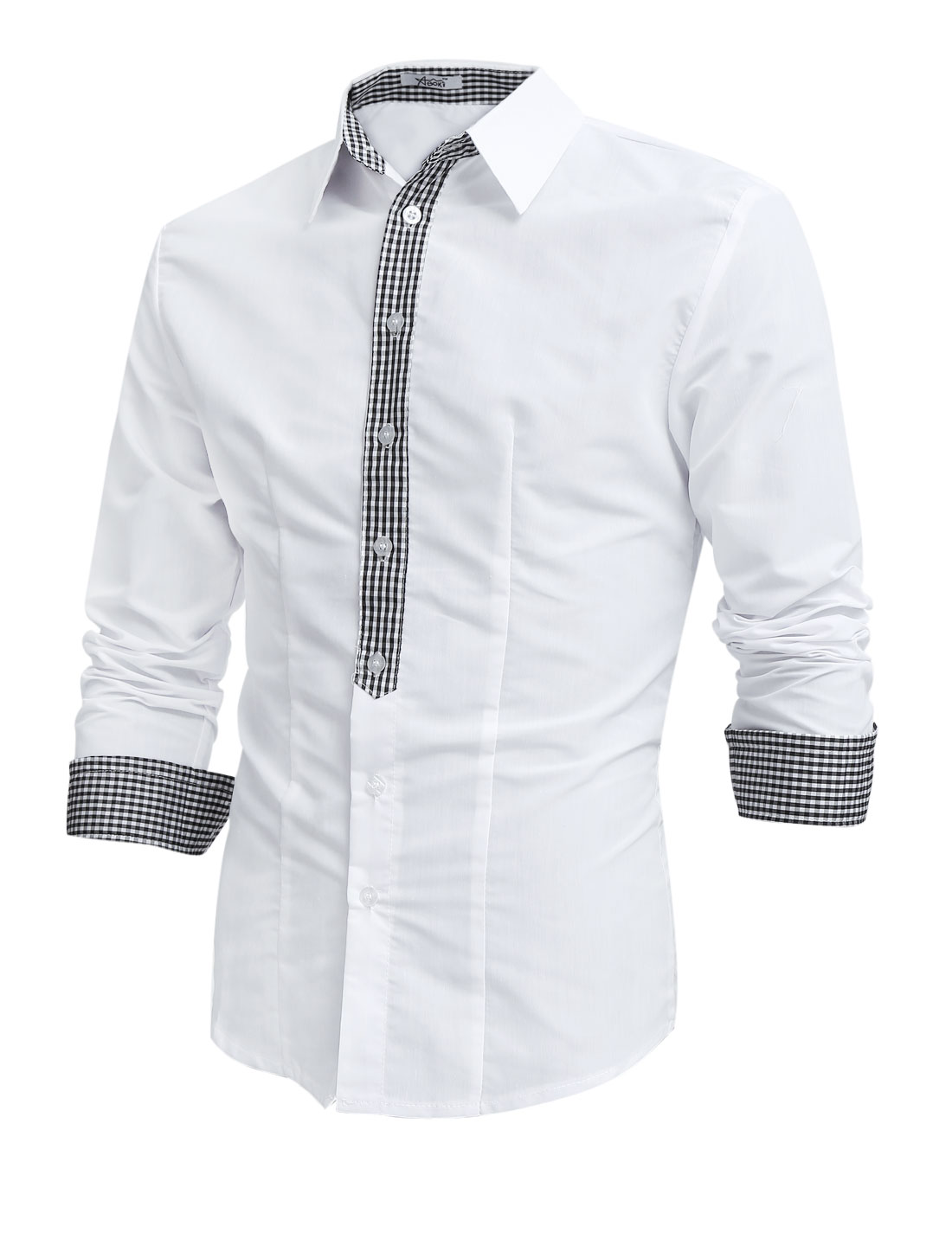 Men Button Closure Front Plaids Detail Round Hem Casual Shirt White M