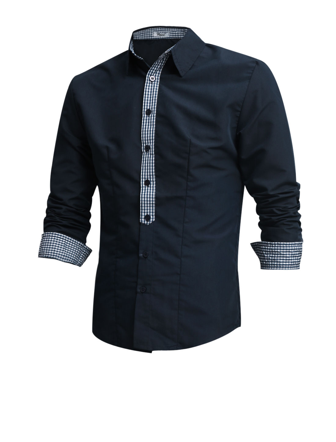 Men Point Collar Long Sleeve Single Breasted Casual Shirt Navy Blue M