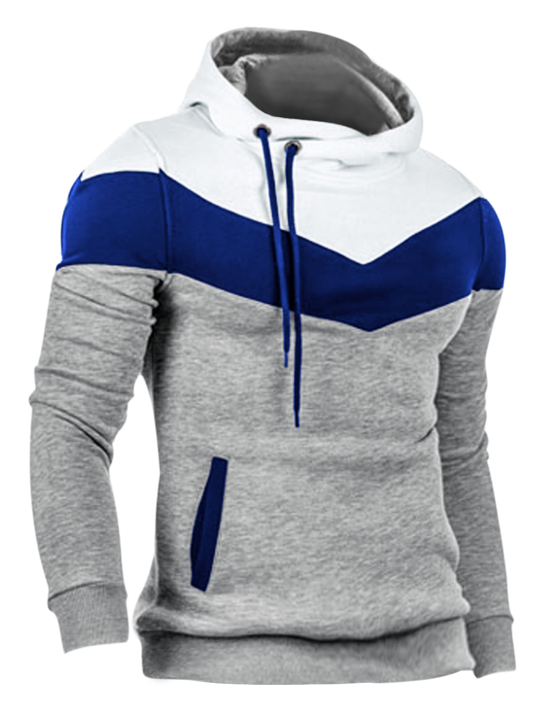 Men Contrast Color Hoody Collar Long Sleeve Casual Hoodie Light Gray M