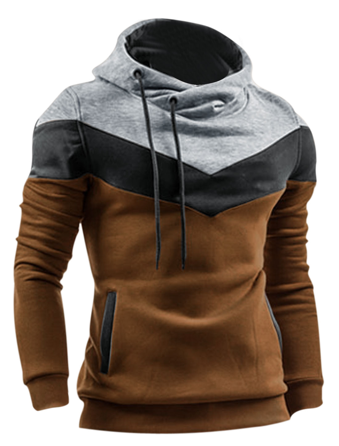 Men Ribbed Cuff w Hem Drawstring Hoody Casual Pullover Hoodie Camel M