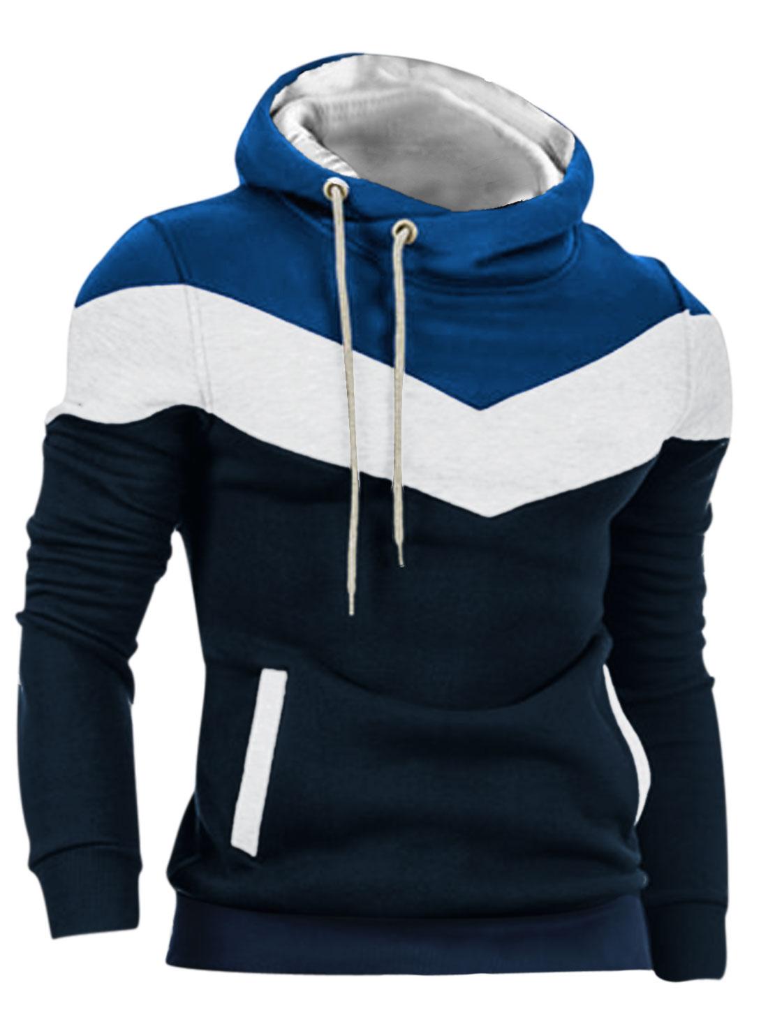Men Drawcord Hoody Slant Pockets Ribbed Hem Casual Hoodie Navy Blue M