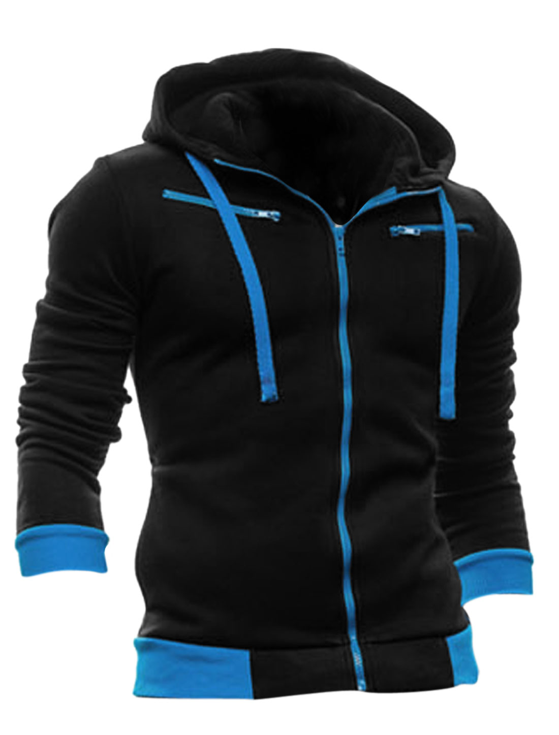 Men Full Zip Fly Long Sleeve Fleece Inside Hoodie Sweatshirt Black M