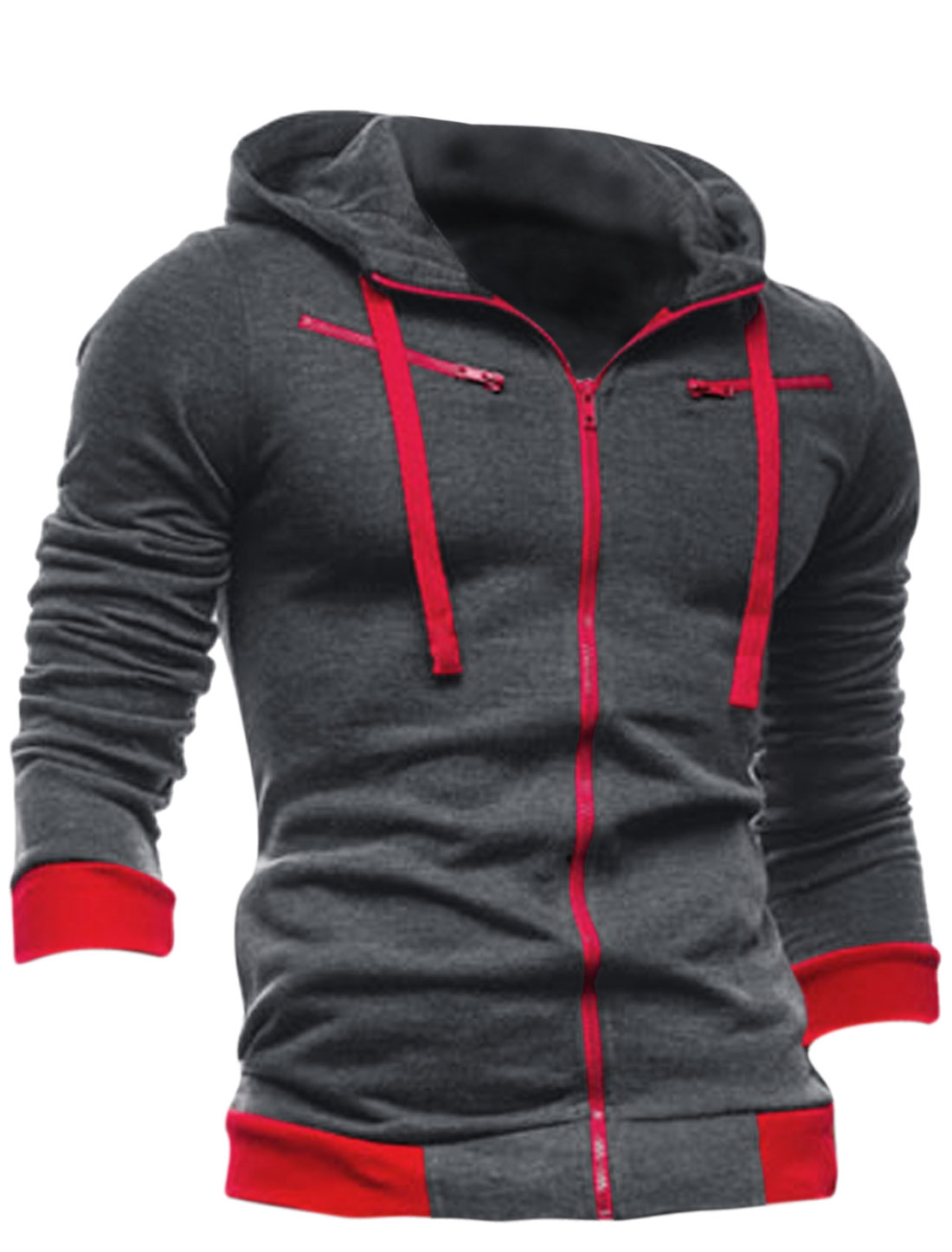 Men Full Zipper Closure Long Sleeve Fleece Inside Hoodie Sweatshirt Dark Gray M