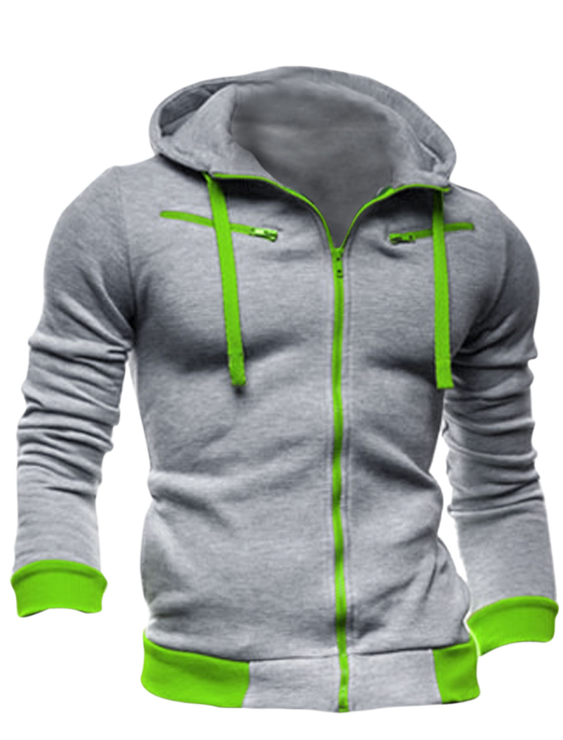 Men Full Zip Up Long Sleeve Fleece Inside Hoodie Jacket Light Gray M
