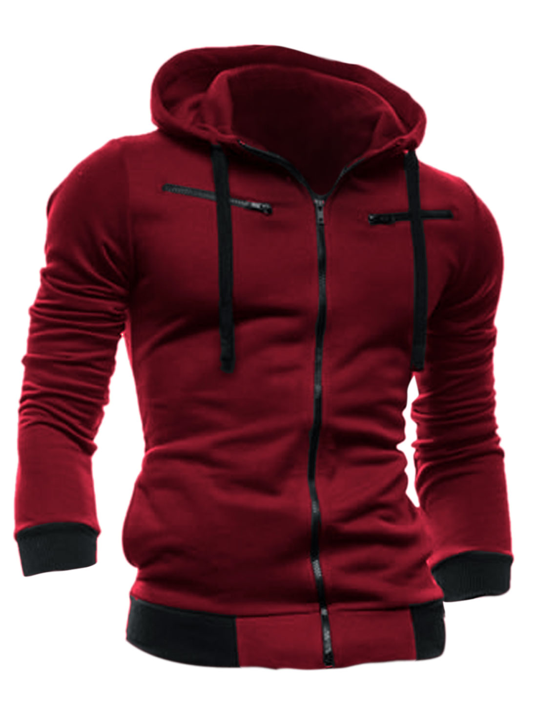 Men Full Zip Up Long Sleeve Fleece Inside Hoodie Sweatshirt Burgundy M