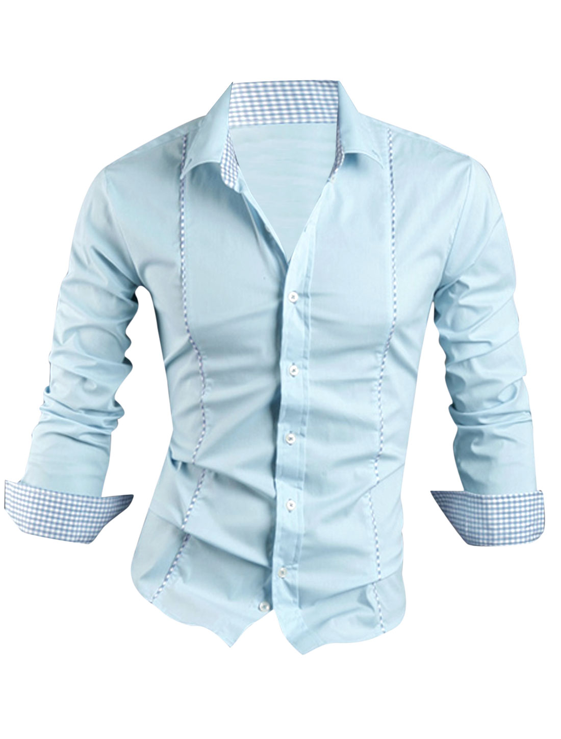 Men Point Collar Buttoned Cuffs Single Breasted Casual Shirt Light Blue M