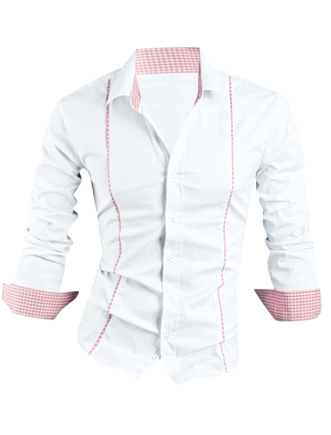 Men Point Collar Long Sleeve Single Breasted Casual Shirt White M