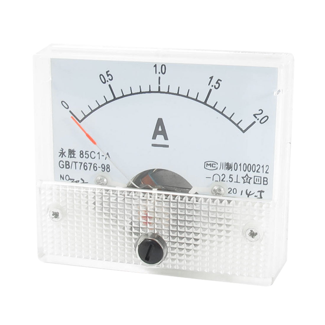 85C1-A 0-2A Class 1.5 Accuracy Clear Square Shaped Vertical Mounted Analog Ammeter Ampere Meter w Screws
