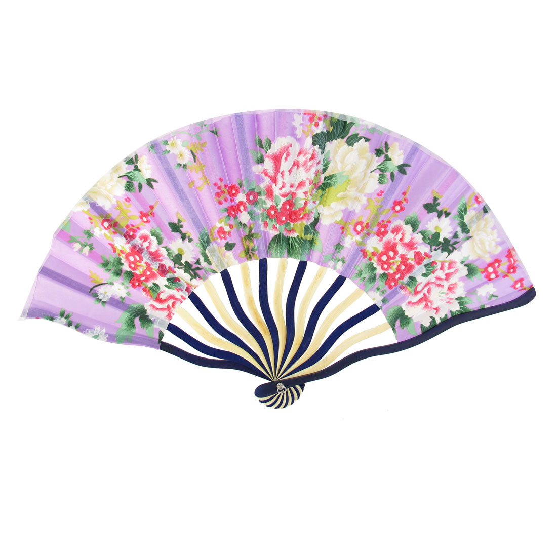 Purple Wooden Frame Flower Pattern Polyester Handheld Folding Fan