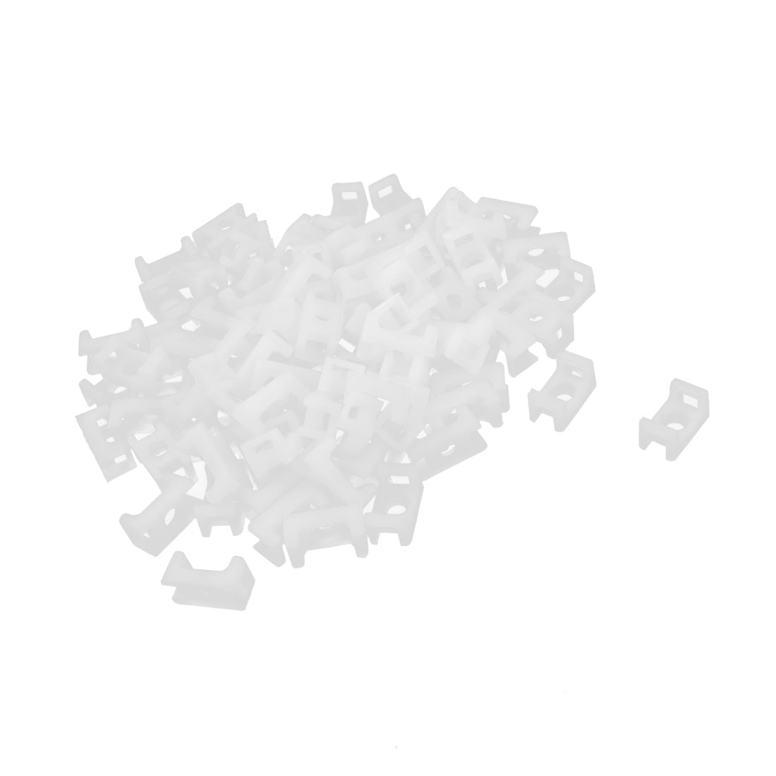 100 Pcs White Plastic 4mm Wire Cable Tie Mount Saddle