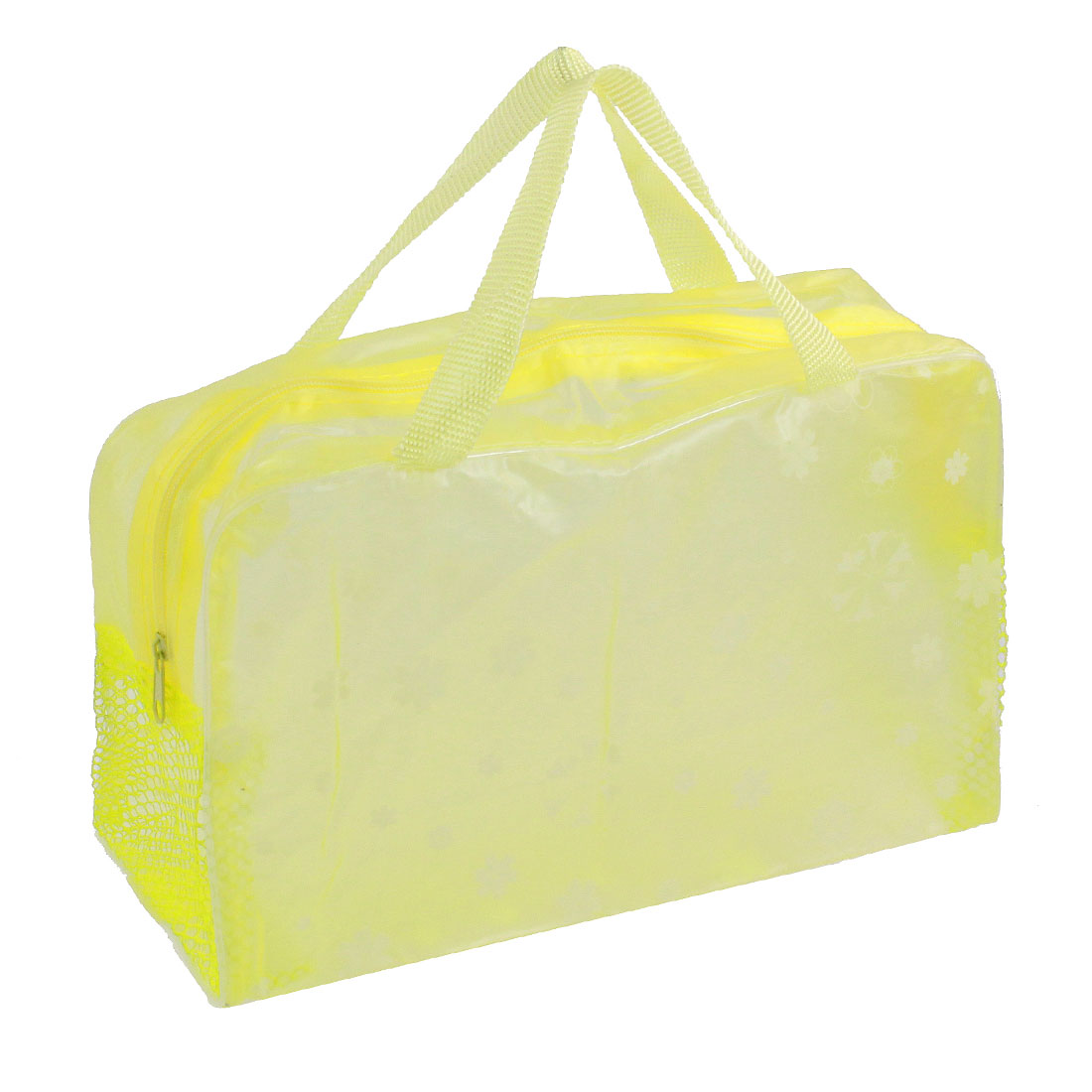 Portable Floral Print Clear Zipper Mesh Bathroom Shower Travel Wash Bag Light Yellow
