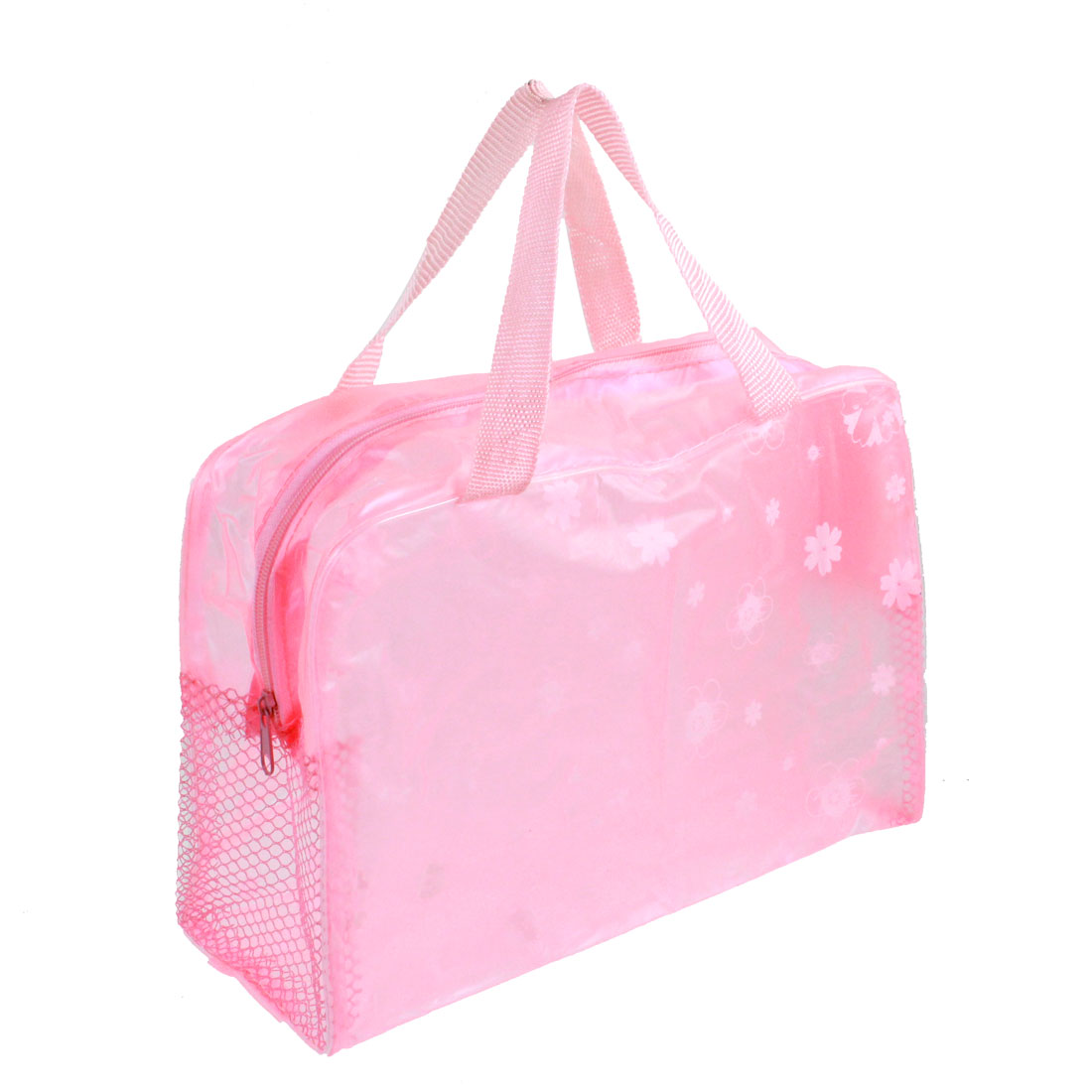 Foldable Zipper Meshy Flower Pattern Pink Clear Bathroom Shower Wash Bag