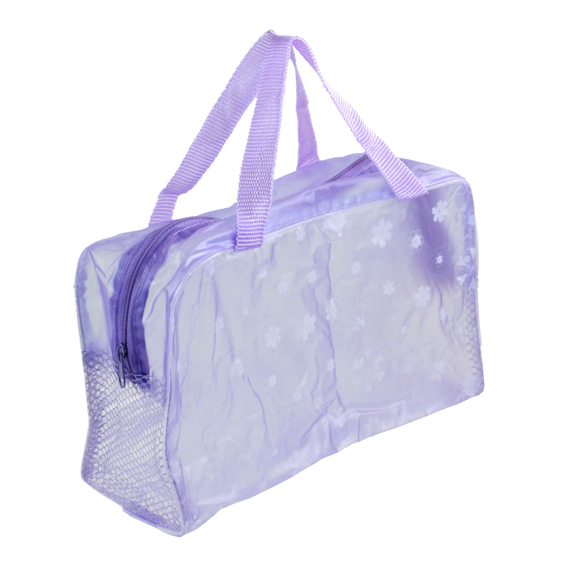 Meshy Zippered Closure Floral Pattern Purple Clear Cosmetic Toiletry Wash Bag