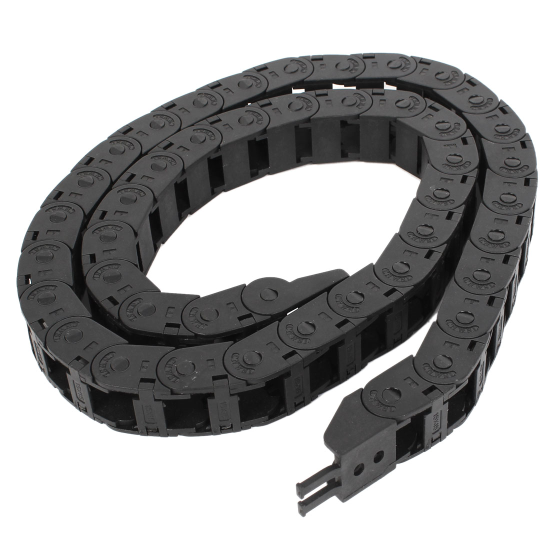 102cm R5.5cm Plastic Open 15mmx15mm Wire Cable Carrier Drag Chain Black