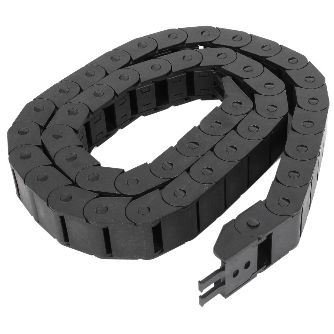 CNC Machine Black Plastic 15mmx20mm R5.5cm Cable Drag Chain 3.3Ft Long