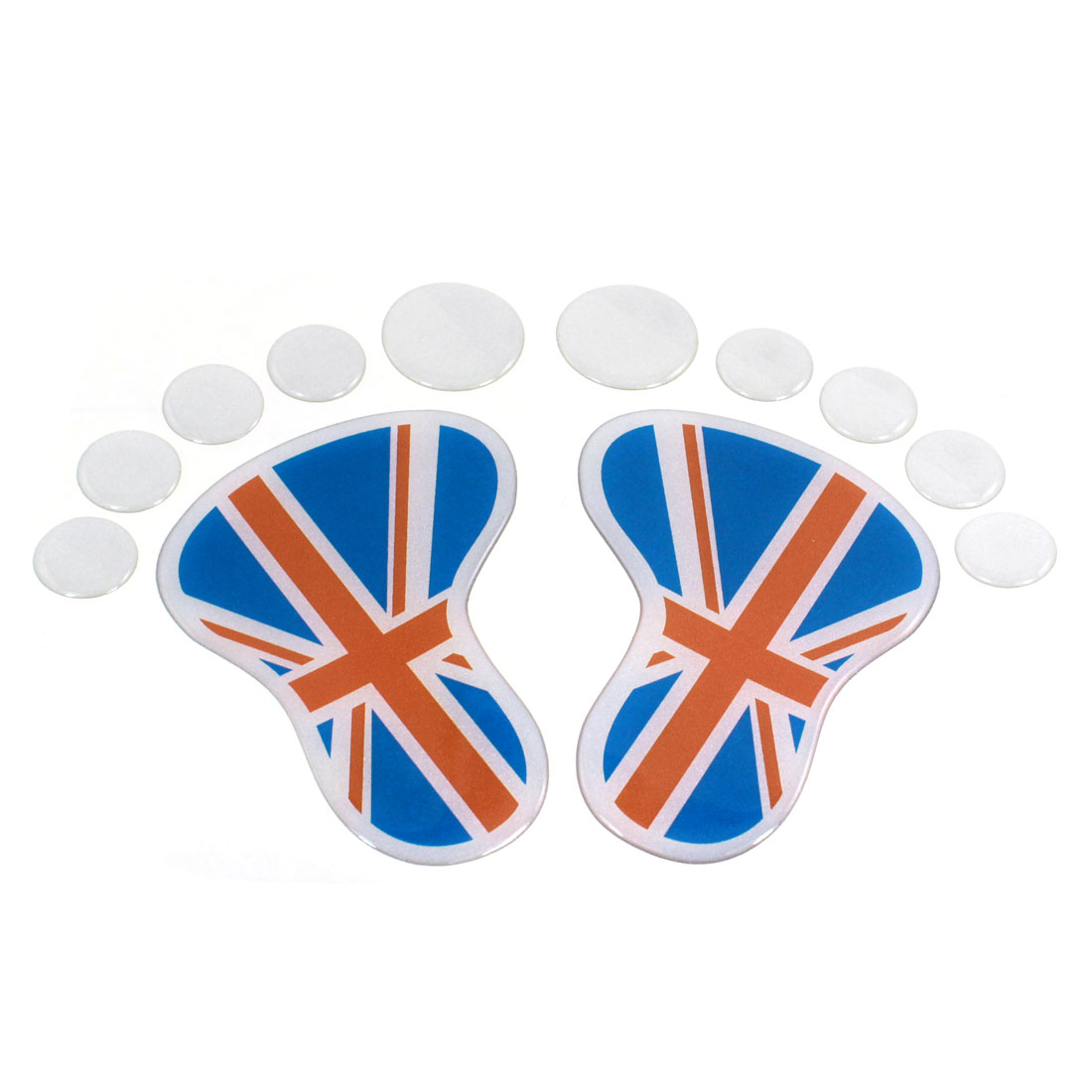 2 Pcs Flag Pattern Footprint Badge Emblems Sticker for Auto Car