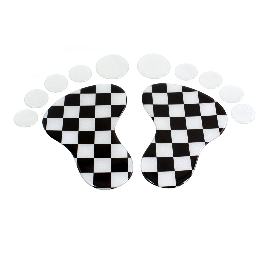2 Pcs Black White Check Prints Footprint Badge Emblems Sticker for Auto Car