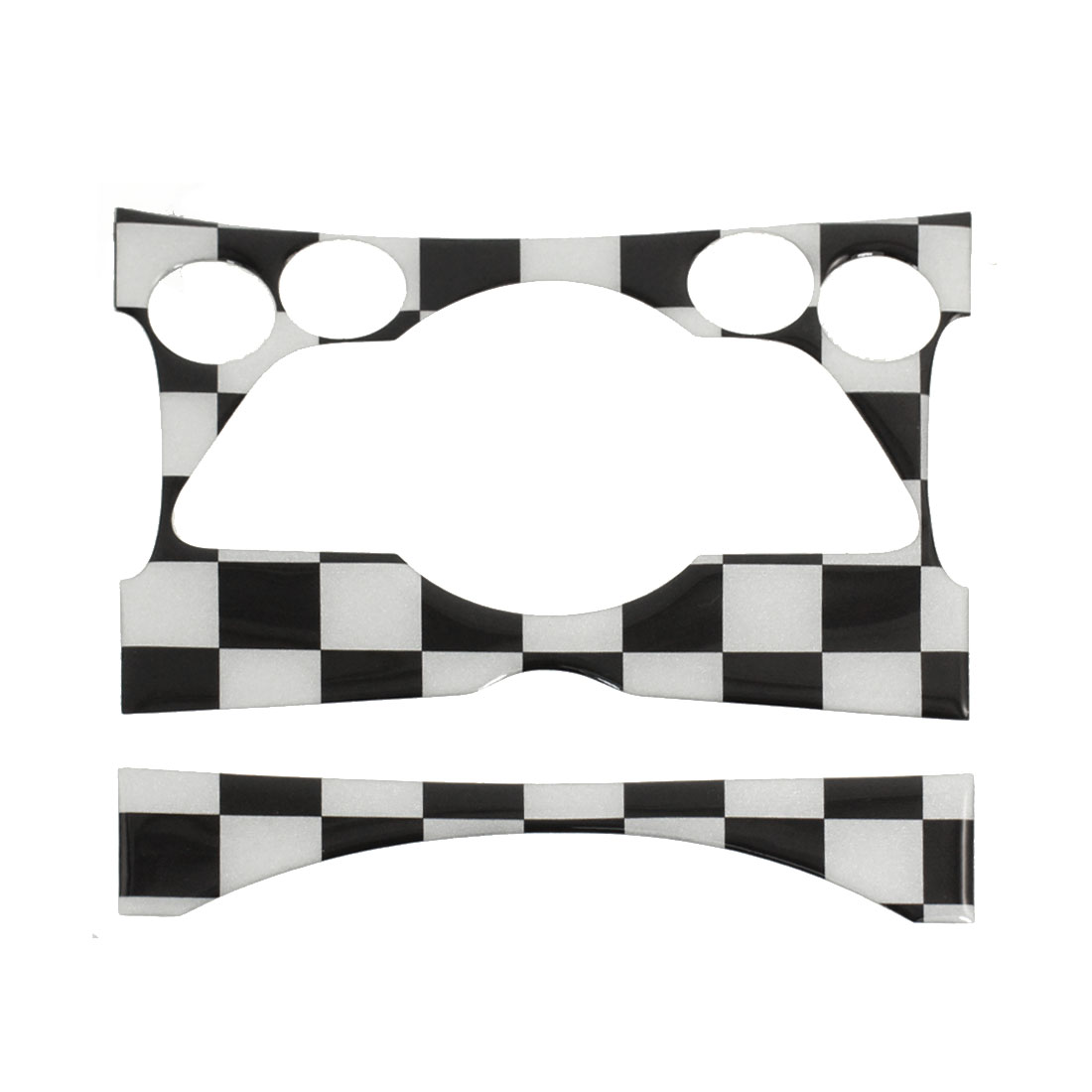 Car Black White Check Pattern Center Climate Console Dashboard Decal Sticker