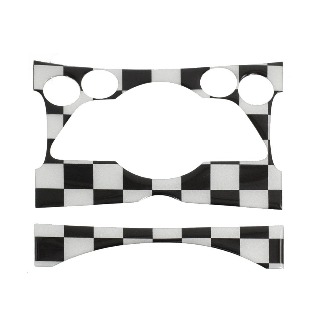Car Black White Check Pattern Center Climate Console Dashboard Decal Sticker