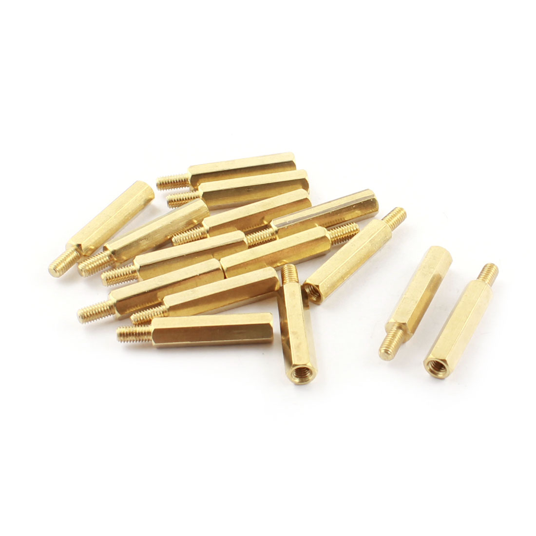 M3x6mm Male to Female Thread Brass Pillar Standoff Spacer 15Pcs