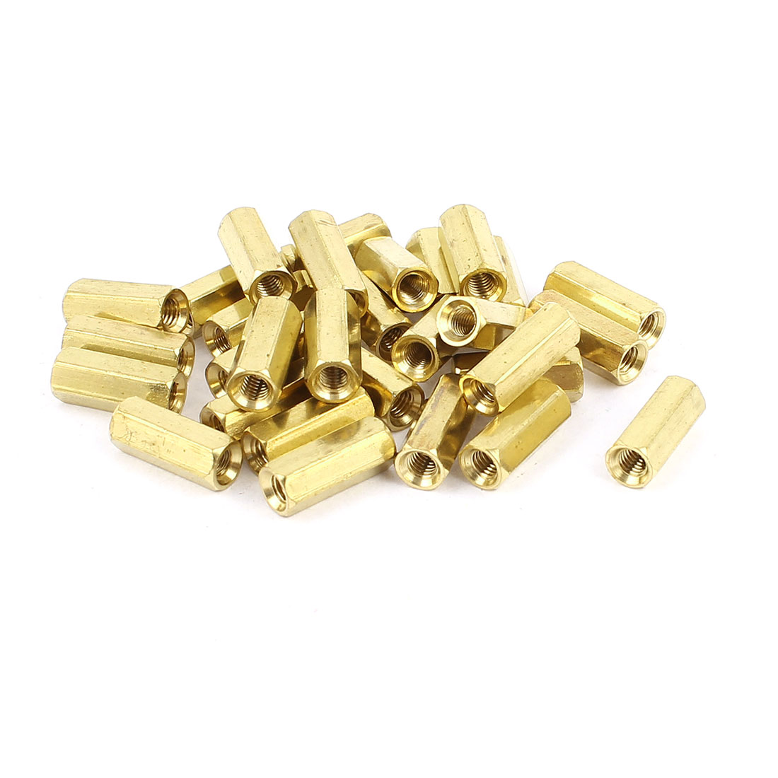 30Pcs M3 Female 12mm Long Hexagonal Standoff Spacer Gold Tone