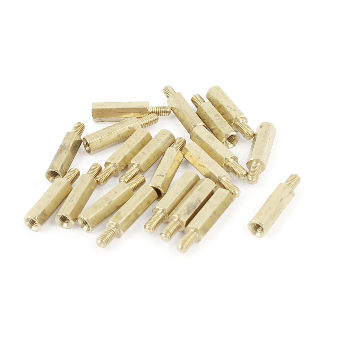 20Pcs M3x6mm Male to Female Thread Brass Pillar Standoff Spacer 21mm Long