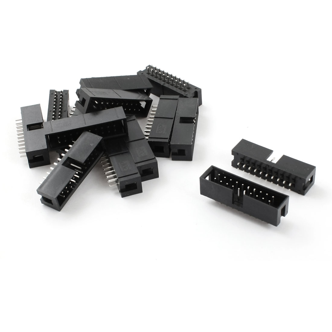 15 Pcs 2 Row 20 Pin 2.54MM DC3-20P Straight JTAG Socket Connector Black for Flat Ribbon Cable