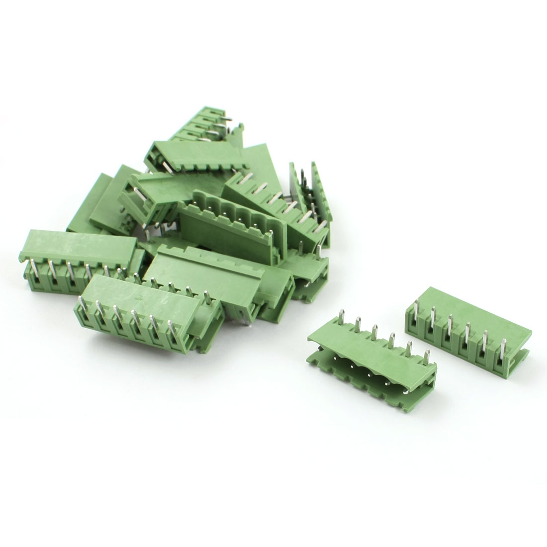 20Pcs Green 5.08mm Pitch Right Angle 6 Pin Pluggable Terminal Block Connector