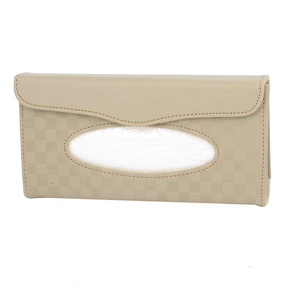 24 x 11 x 3cm Beige Rectangular Faux Leather Tissue Box Container for Auto Car