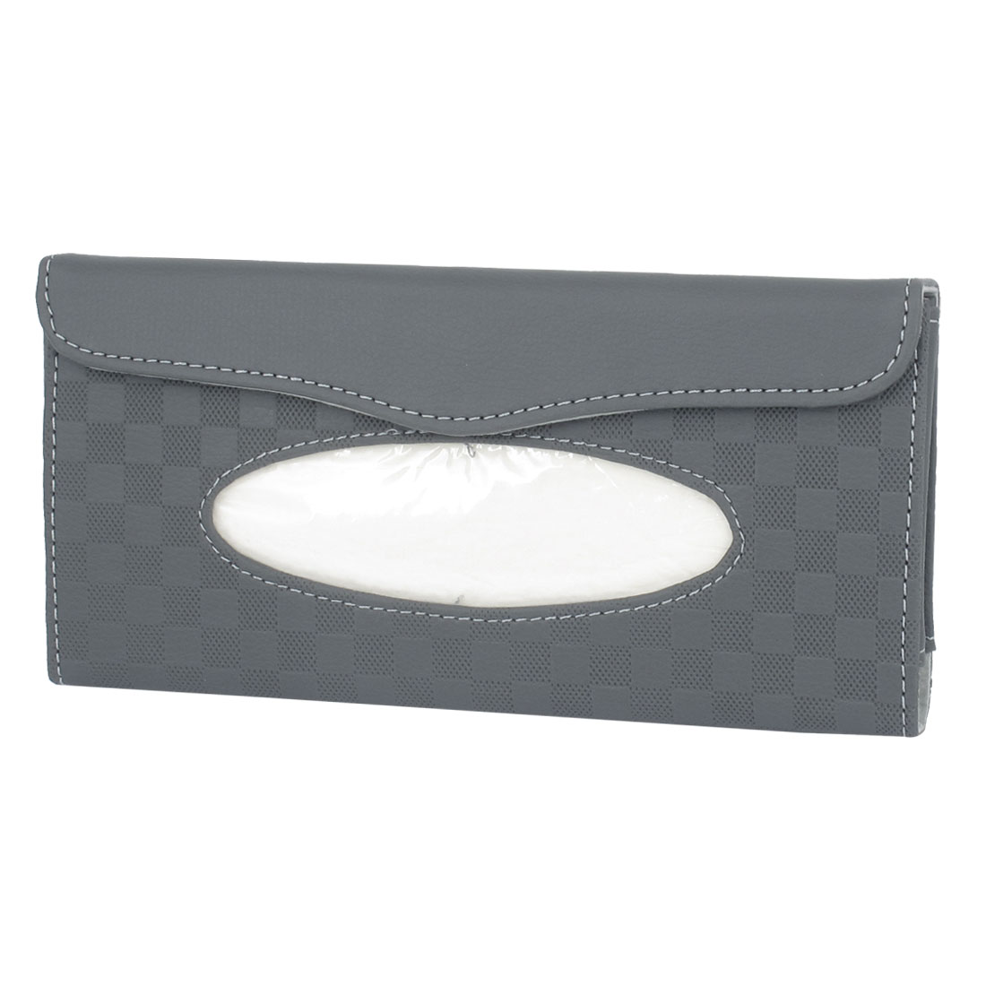 Home Office Automobile Portable Faux Leather Clip on Tissue Box Holder Case Gray