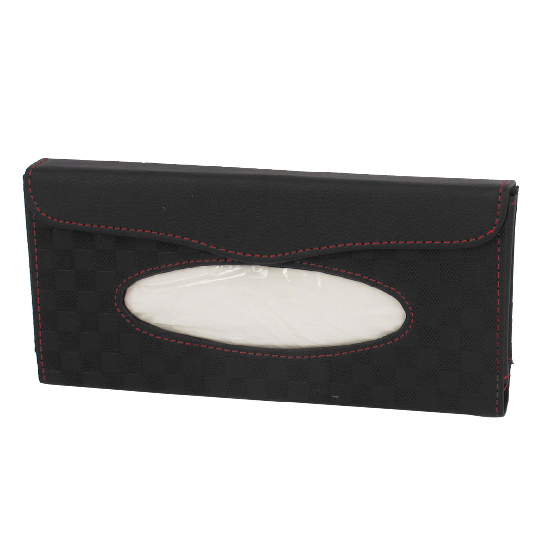 Black Faux Leather Car Vehicle Sun Visor Clip on Paper Tissue Box Case Holder