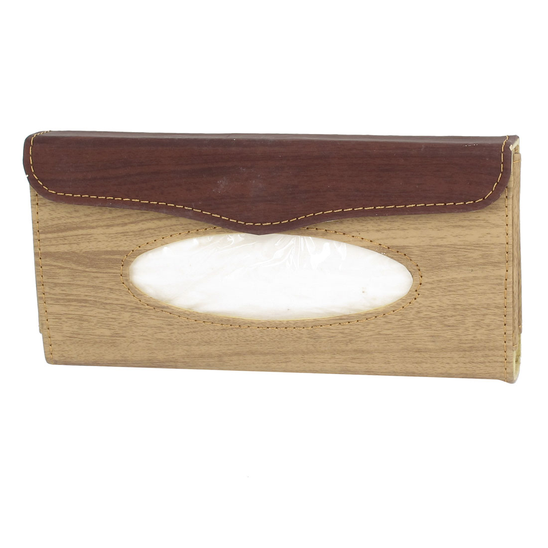 Wood Pattern Faux Leather Car Paper Tissue Box Holder Case Beige Brown