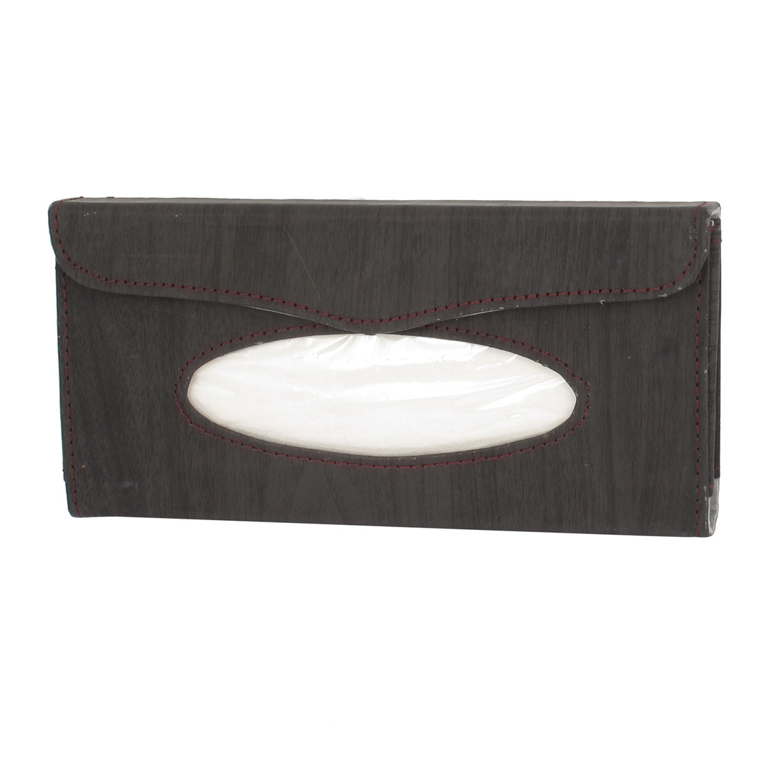 Car Auto Wood Pattern Faux Leather Tissue Napkin Box Case Paper Holder Dark Gray