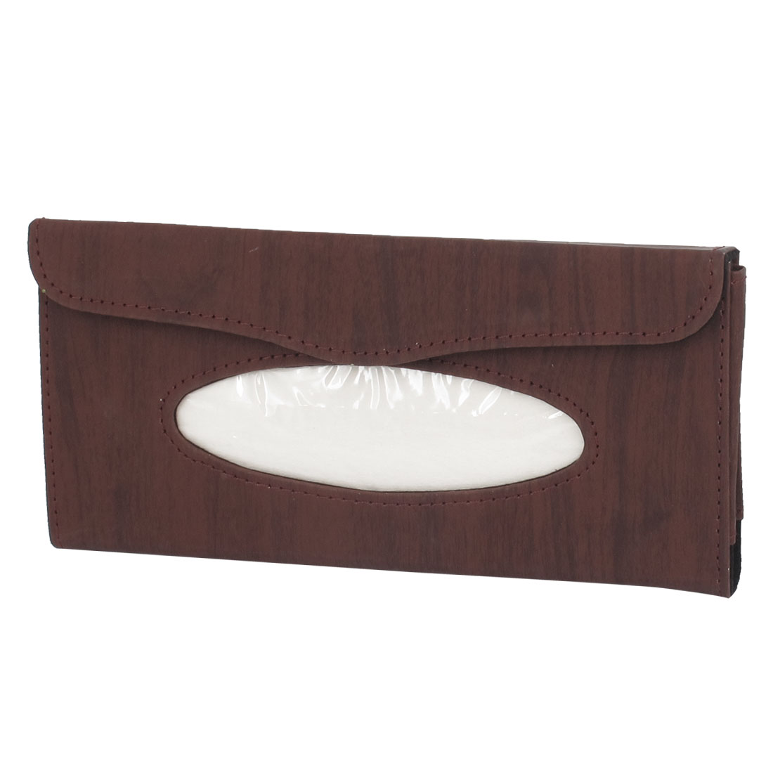 Sun Visor Wood Pattern Clip on Tissue Holder Case Coffee Color for Car