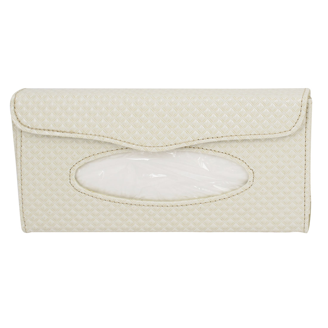 Universal Car Clip on Faux Leather Tissue Box Case Paper Holder White