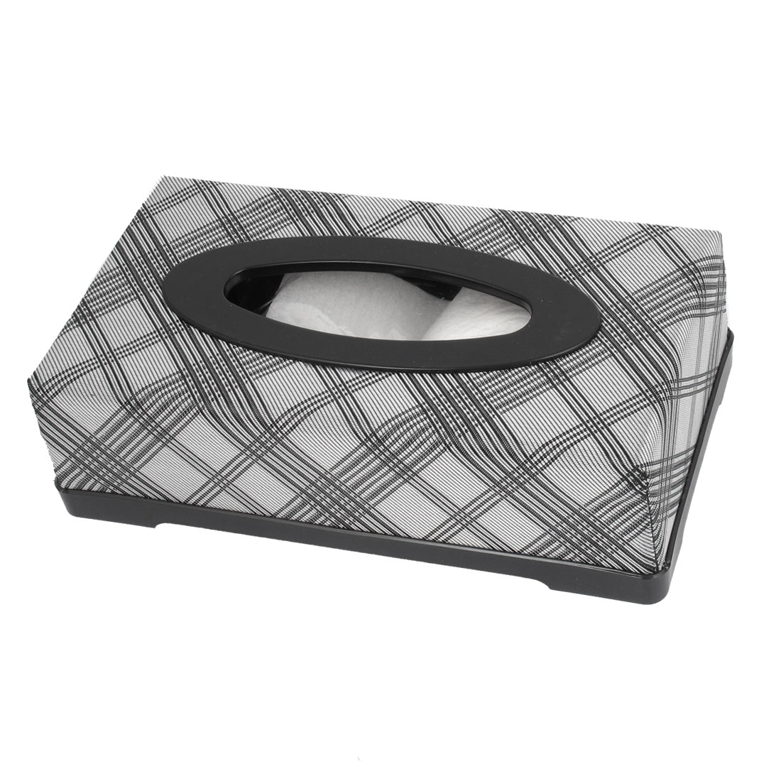 Car Vehicle Portable Rectangular Gray Nylon Tissue Box Holder Case 22 x 12cm