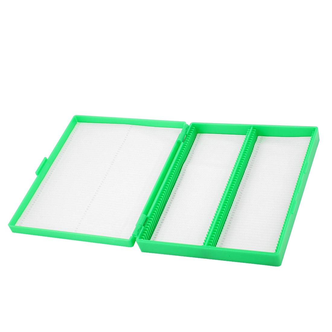 Green Plastic Shell 100 Slots Rectangular Microscope Glass Slide Box