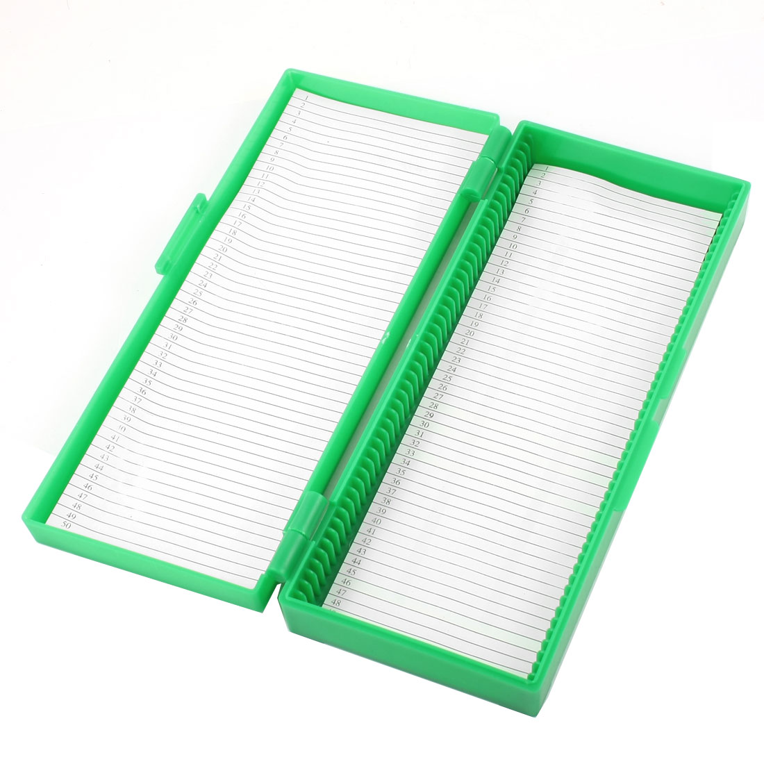 Green Plastic Shell 50 Slots Rectangular Microscope Glass Slide Box