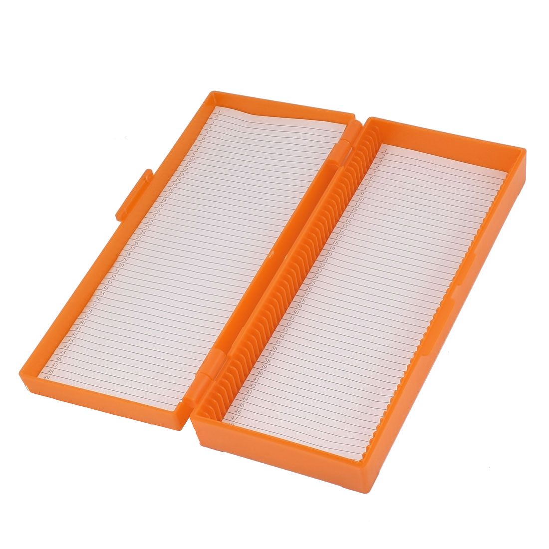 Orange Plastic Shell 50 Slots Rectangular Microscope Glass Slide Box