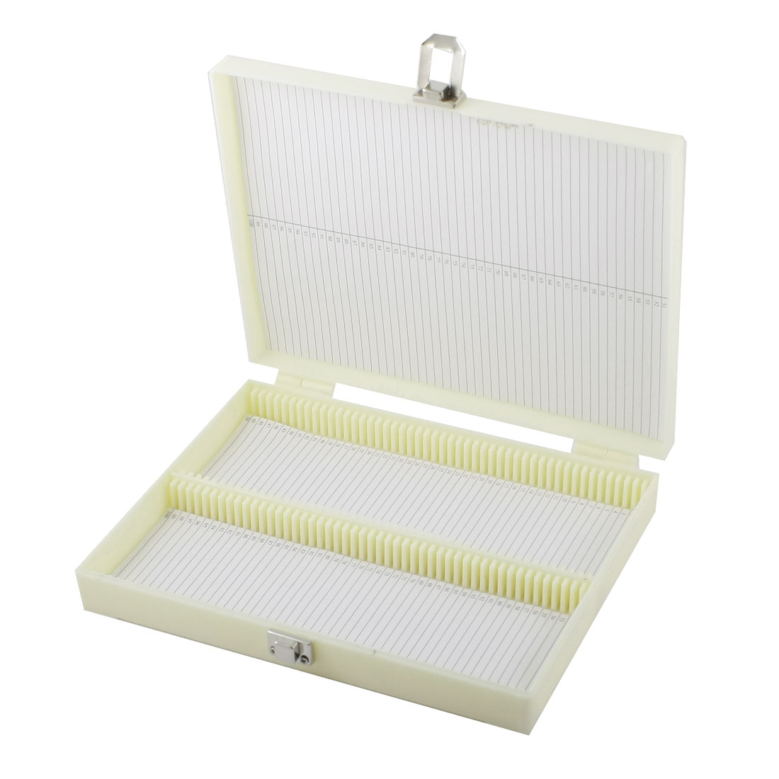 Beige Plastic Shell 100 Slots Microscope Glass Slide Box w Metal Clasp
