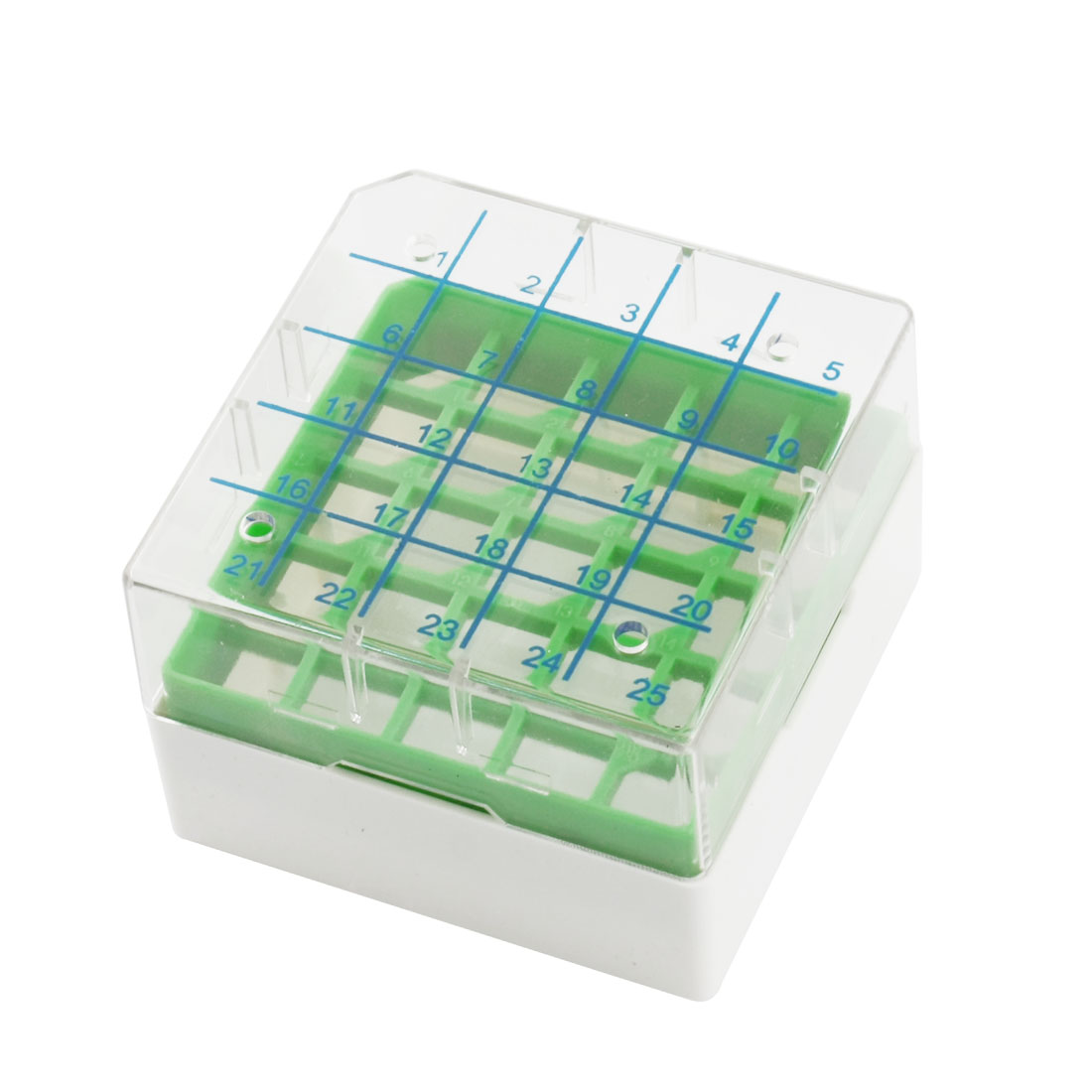 Green Clear Plastic Square Shape 25 Slots Cryovial Storage Box